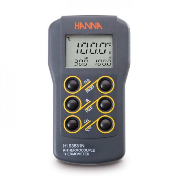 Termómetro Termopar de tipo K de 0,1 ° de resolución con botón CAL HI93531N Hanna