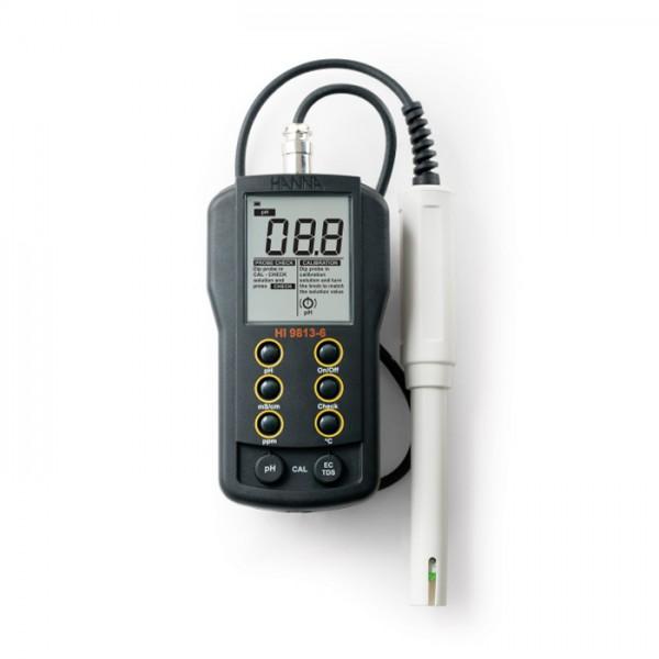 Medidor Portátil de pH / EC / TDS / Temperatura con CAL Check HI9813-6 Hanna