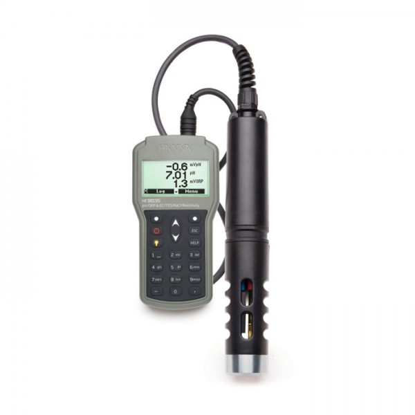 Multiparámetro pH / ORP / EC / presión / temperatura medidora impermeable HI98195 Hanna