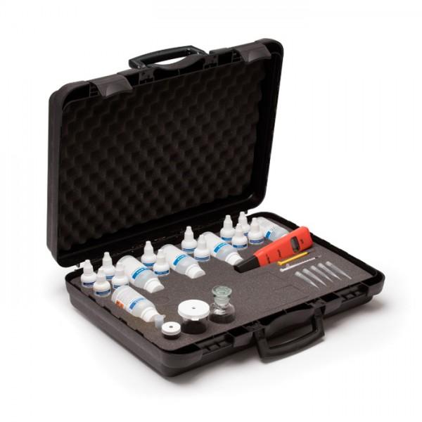Kit de Prueba Química para marina alcalinidad, dióxido de carbono, dureza, oxígeno disuelto, pH y salinidad HI3823 Hanna