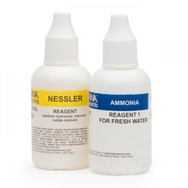 Kit de prueba de Amoníaco para Reactivos de Reemplazo de agua dulce HI3824-025 (25 Pruebas) Hanna