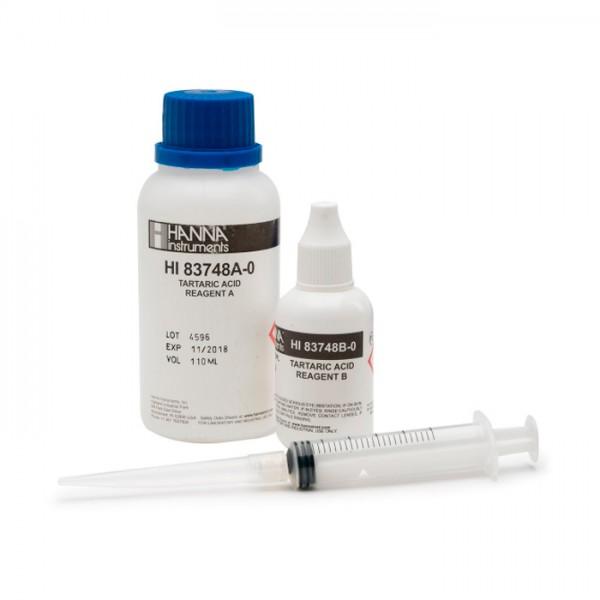 Kit de reactivos de Análisis de ácido Tartárico HI83748U-20 (20 pruebas) Hanna