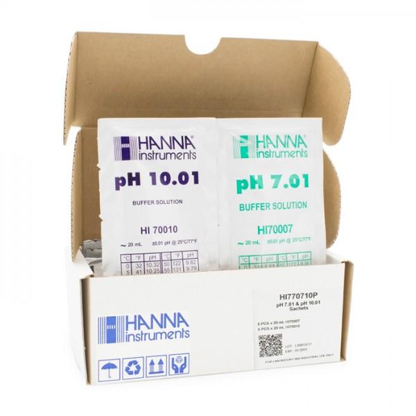 Bolsas de Tampón de Calibración pH 7.01 y 10.01 HI770710P (10 x 20 ml, 5 cada una) Hanna