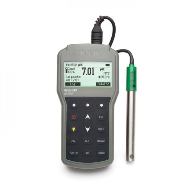 Medidor de pH / ORP portátil impermeable profesional HI98190 Hanna