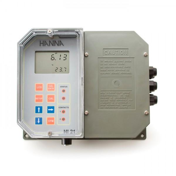 Controlador digital de pH montado en la pared con punto de ajuste doble y pasador correspondiente HI21211-1 Hanna