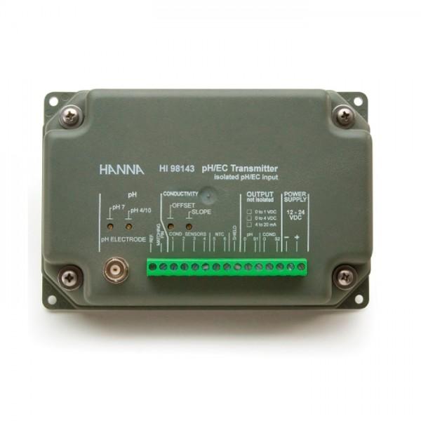 Transmisor de pH y EC con salida galvánica aislada HI98143 Hanna